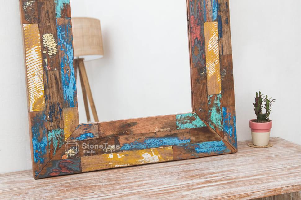 Зеркало Rainbow Strips (recycle wood)