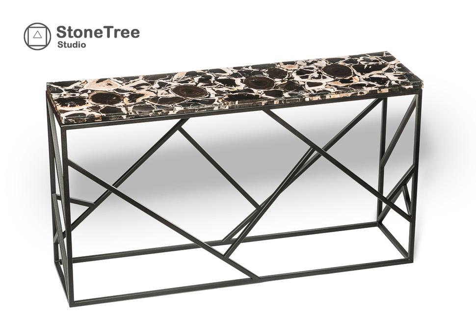 Консольный стол из окаменелого дерева Black Panther